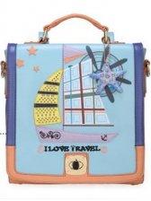 New Fashion Sailing Ship Pattern Zipper Up Backpack