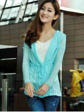 Fresh Style Pure Color Long Sleeve Short Coat