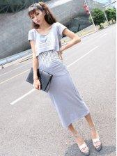 New Trendy Geometric Print Cotton Short Sleeve Dress