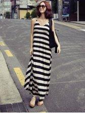 Korean Fashion V-neck Sleeveless Stripe Cotton Maxi Dress