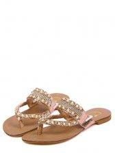 Korean Fashion Toe Clip Bead Flat Heels PU Slipper