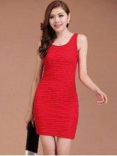 Fresh Style Ruffled Round Collar Pure Color Sleeveless Dress