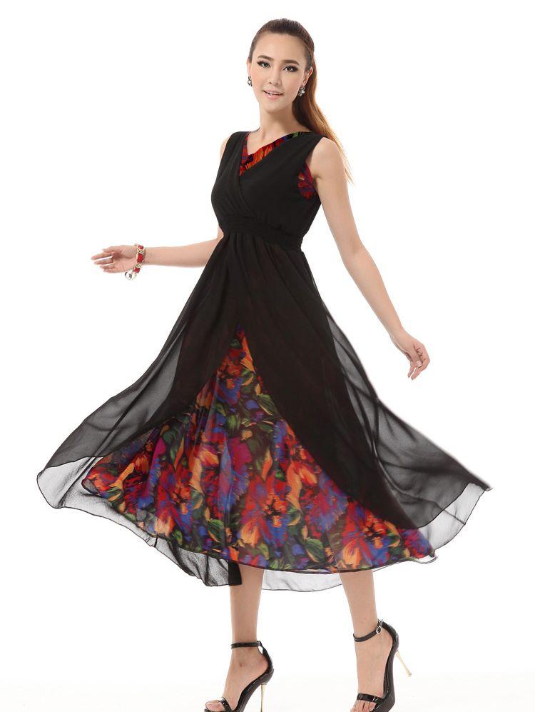 Charming Girls Flower Print V-neck Sleeveless Maxi Dress