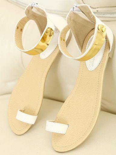 Summer Fashion Rubber Sole Flat Heels White PU Sandals