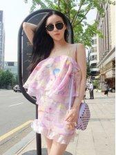 Sweetie Fashion Off-Shoulder Flounce Two-piece Dress