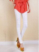 Modern Style Lace Slim Leggings In White
