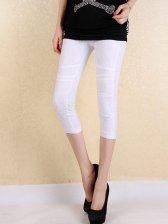 Modern Style Natural Waist White Leggings