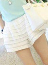Fresh White  Elastic Waist  Mini Shorts
