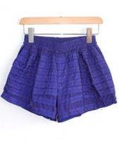 Modern Summer Dark Blue Elastic Waist  Mini Shorts