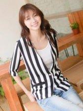 Brand New Black And White Stripes Half Sleeve Hemp Suit