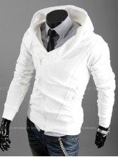 Autumn Zipper Long Sleeve White Hoodies
