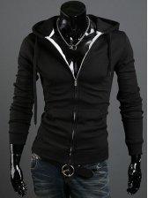 New Arrival Pulling Ropes Zipper Hooded Black Hoodies