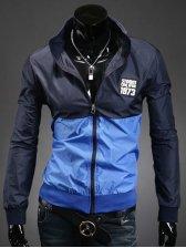 2013 Modern  Color Block Turn Collar Zipper Jacket