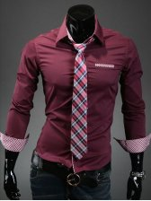 Autumn Fashion Long Sleeve Cotton Wine Red Shirt