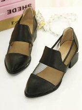 New Trendy Rubber Sole Soild Color Black PU Sandals