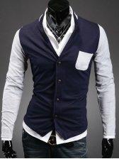 Modern  Stand Collar Single Pocket Coat