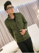 New Style Pocket Zipper Army Green Jacket