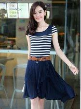 New Summer Fashion Stripes Color Block Ruffled Slim Dress