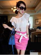 2013 Fashion Round Collar Ruffles Sleeve Two Pieves Dress