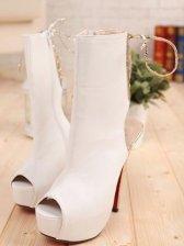 Classic Look Rubber Sole Peep-toe Thin Heels PU Boots
