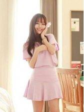 Elegant Ladies Dreamlike Violet High Waist Two-piece Dress