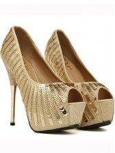 Vogue Lady Composite Sole Peep-toe Thin Heels Sequins Pumps