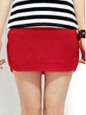 New Arrival Drawstring Waist Red Cotton Mini Skirt
