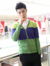 Autumn Style Man Color Matching Slim Cardigan