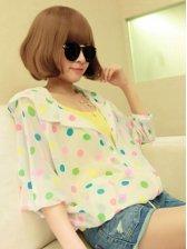Summer Korean Polka Dots Hooded Zipper  Short Coat