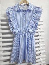 Korean New Arrival Striped Single-Breasted Ruffles Sleeveless Dress