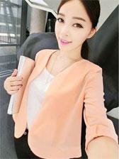 Latest Fashion Fresh Pure Color Three-Quarter Sleeve Chiffon Short Coats