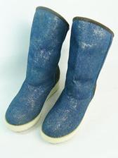 Fashion Arrival Color Block Wedge Denim Boots