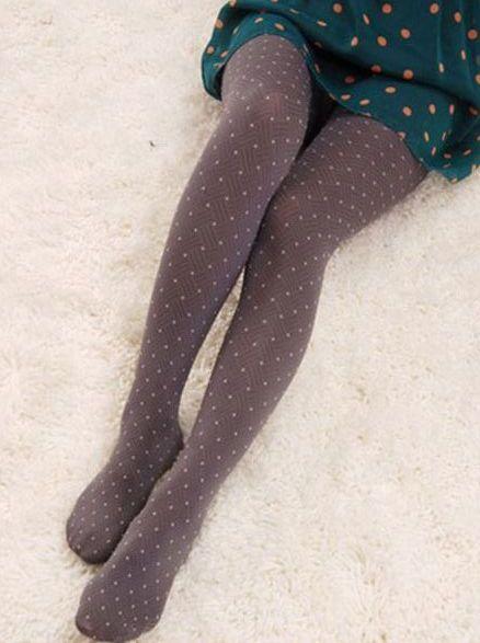 Brand New Dots Pattern Velvet Stockings Coffee Leggings