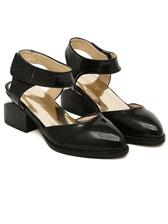 Fashion Velcro Pure Color Sharp Toe Asymmetrical Chunky Heels Sandals
