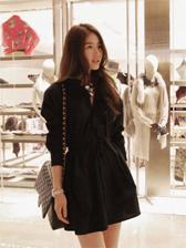 Top Fashion Turn Collar Long Sleeve Dress
