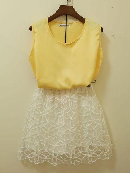 Brand New Organza Skirt Chiffon Sleeveless Blouse Two Pieces