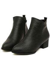 Autumn Fashion Composite Sole Round Toe Black PU Shoes