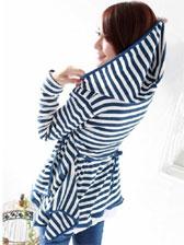 New Arrival Striped Color Block Asymmetrical Hem Hooded Short Coats