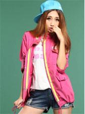 Korean Style Zipper Pockets Long Sleeve Short Coat