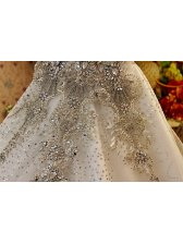 Free Shipping Romantic Diamonds Studded Cathedral Train White Wedding Dress