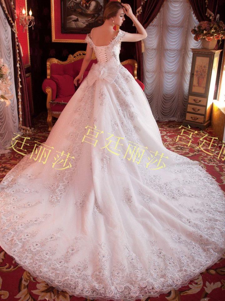 Free Shipping Royal Style Diamonds Studded Cathedral Train White Wedding Dress