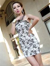 Sexy Lady Fashion Backless Wrap Halter Mini Dress
