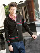 British Style V-Neck Casual Striped Cardigan