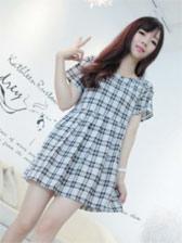 2013 Fashion Plaid Round Collar Short Sleeve Dress