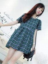 Sweet Girls Round Collar Plaid Short Sleeve Dress