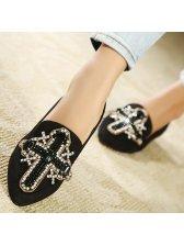 New Korean Stylish The Cross Diamonds Studded Flats