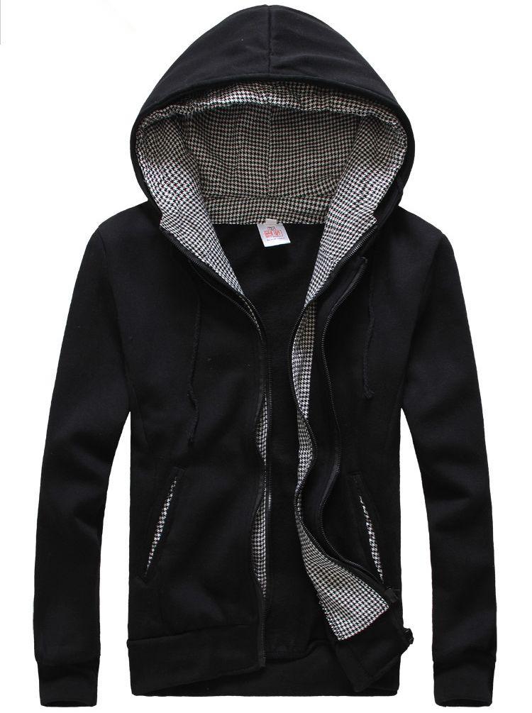 Autumn Modern Front Zipper Patchwork Long Sleeve Pocket Hooded Coats
