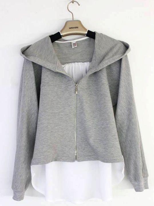 Autumn Latest Designs Chiffon Patchwork Front Zipper Hooded Short Coats
