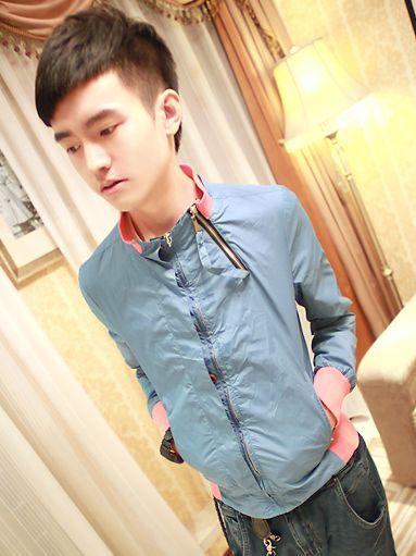 Autumn Modern Zipper Stand Collar Terylene Blue Jacket Coat