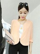 Korean Style Three-quarter Sleeve Pure Color Chiffon Suit